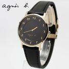 【萬年鐘錶】agnes b. 法式簡約時尚風 腕錶 金x黑  33mm 7N00-0BH0D (BG4006P1)