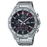 【CASIO】 EDIFICE 經典商務星軌三眼三針不鏽鋼錶-黑面(EFR-564D-1A)