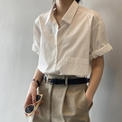 夏薄款純棉短袖襯衫女2021年新款復古港味襯衣設計感小眾寬松上衣 設計師