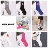 韓版個性圖案中長筒襪⚡️⚡️ 中筒襪 短襪子 船襪 可愛 卡通 動物 街頭 滑板 復古 阿華有事嗎