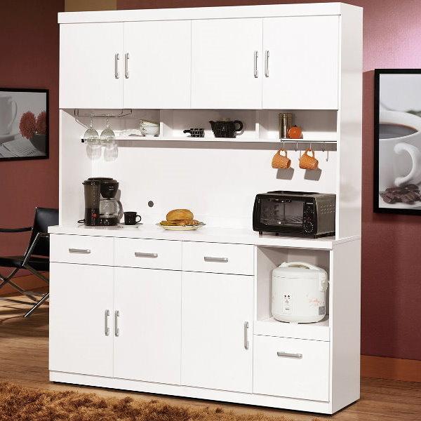 櫥櫃 餐櫃 QW-644-3 祖迪白色5.3尺餐櫃(上+下)【大眾家居舘】