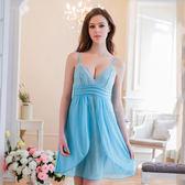 大尺碼睡衣 情趣內睡衣 Annabery 粉藍柔紗側開襟二件式睡衣女衣閨蜜萌萌《生活美學》