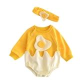 荷包蛋長袖三角包屁衣 附髮帶 包屁衣 連身衣 嬰兒裝