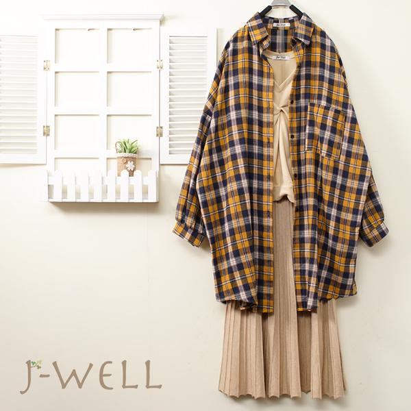 J-WELL 法蘭絨格紋上衣V領短上衣針織壓摺A字裙三件組(組合B027 9J1018黃+9J1084米+9J1141卡)