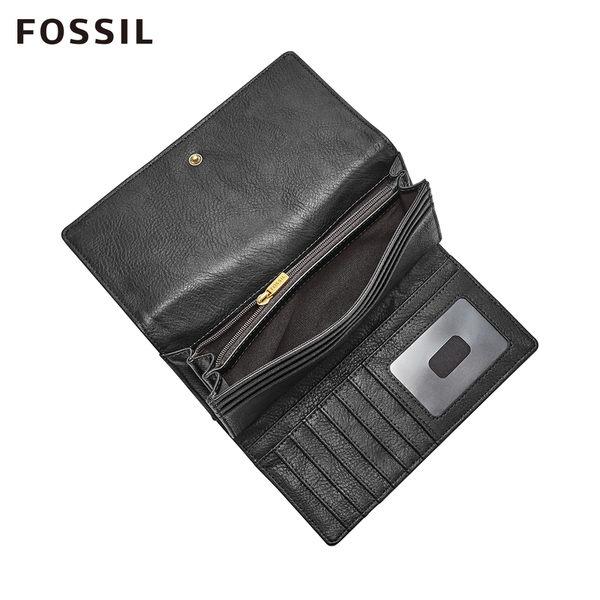 FOSSIL LOGAN 黑色三折真皮拉鍊RFID長夾SL7833001