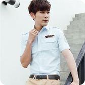 韓式作風 - 迷彩字母電繡造型短袖襯衫(三色)【33378】