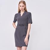SST&C 女裝 礦石灰造型領腰釦帶洋裝 | 8562009003