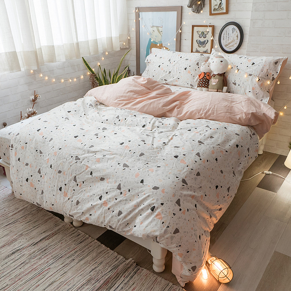 粉色磨石子 K2 King Size床包薄被套四件組 純精梳棉 台灣製
