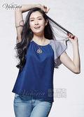 Victoria  條紋雪紡拉克蘭短袖T-女-深藍