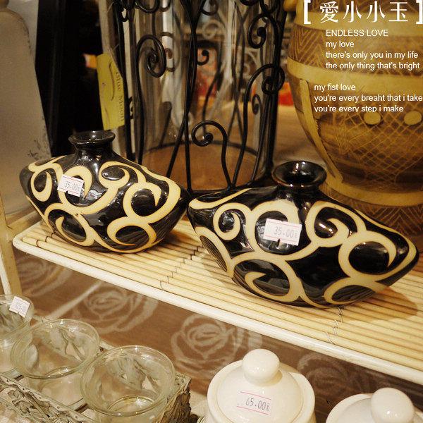 【日式-雲紋黑瓷瓶】仿古花瓶2個組