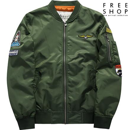 Free Shop 情侶款 潮流夾克空軍風MA-1休閒立領夾克防風飛行外套風衣外套 有大尺碼【QTJYZ1616】