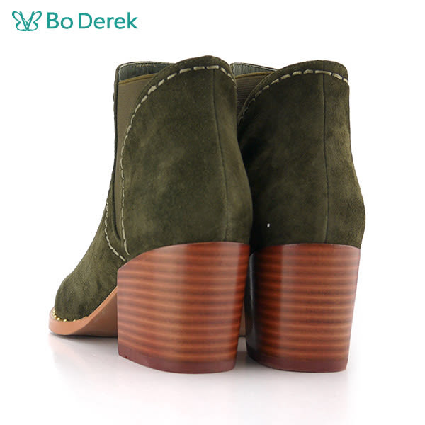 【Bo Derek】羊皮磨砂中跟短靴-綠