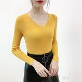 v領打底衫女2020春季新款顯瘦修身坑條針織衫長袖小衫上衣套頭衫YJ5413【雅居屋】