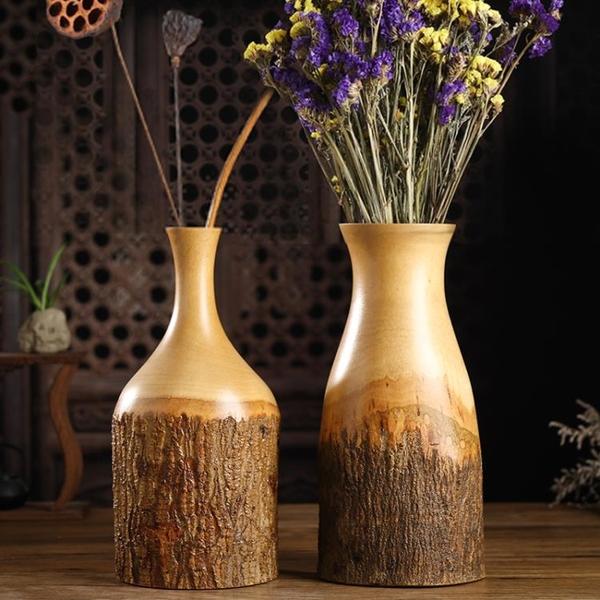 泰國木雕樹皮裝飾花瓶擺件芒果木花瓶復古實木花器桌