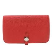 HERMES 愛馬仕 Dogon Duo 2R Rouge Pivoine 牡丹紅色牛皮長夾 護照夾(附活動零錢袋)