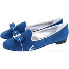 Salvatore Ferragamo SCOTTYPIPI 鑲邊蝴蝶結飾麂皮樂褔鞋(藍色) 1530426-23