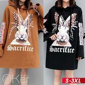 民族風兔兔連帽長袖洋裝 L-XL O-ker歐珂兒 151830-C