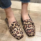 平底包鞋.韓版交叉金屬環豹紋絨面方頭鞋.白鳥麗子