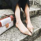 秋季新款潮鞋女士裸色鉚釘內增高尖頭鞋淺口...