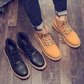 男短靴 男靴子 新款潮高幫工裝鞋英倫工裝真皮男中幫馬丁靴《印象精品》q1431