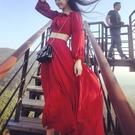 沙灘裙 一字肩露肩洋裝夏韓國大紅色露臍雙層雪紡長裙海邊度假沙灘女裙-Ballet朵朵