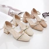 包頭涼鞋大東歌夏季新款方頭壹字帶高跟鞋百搭仙女風粗跟中空單鞋