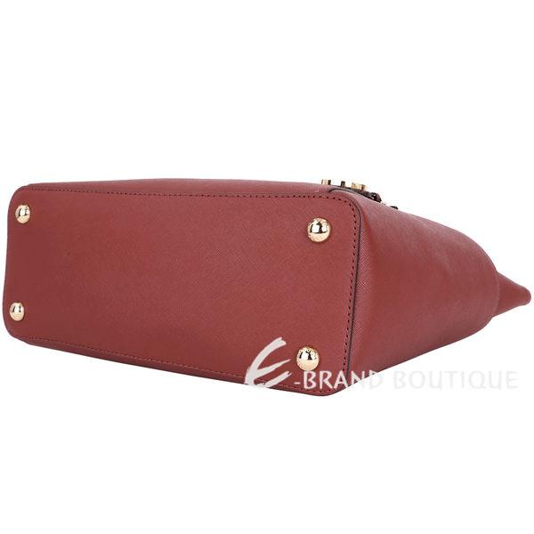 Michael Kors Jet Set Top-Zip 防刮牛皮肩背包(大/磚紅色) 1510143-B2