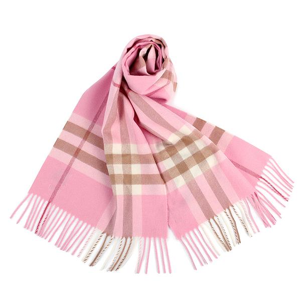 BURBERRY 經典格紋喀什米爾羊毛圍巾(粉紅色)089540-1