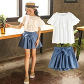 童裝女童夏裝2018新款中大童韓版時尚洋氣套裝兒童時髦潮衣兩件套 qf751【黑色妹妹】