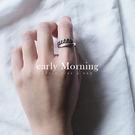 early Morning - 925純銀鏈條 線圈 交叉 開口戒指 韓國設計款 仿舊 中性【SFC044】