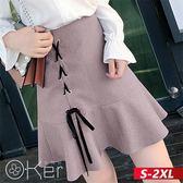 中大尺碼 韓版氣質公主魚尾荷葉邊半身裙 S-2XL O-ker歐珂兒 17317