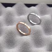 戒指—18k金鑲鑚戒指女韓國簡約鈦鋼玫瑰金尾戒潮人小指單身戒指不掉色 依夏嚴選