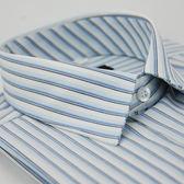 【金‧安德森】白底藍黑線條長袖襯衫