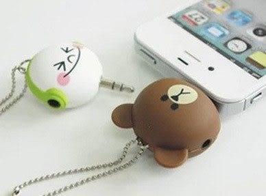 【Miss.Sugar】可愛卡通雙人1分2耳機分線器分離器情侶手機音樂一分二分享器