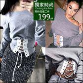 克妹Ke-Mei【AT48371】歐美單,獨家!辛辣龐克馬甲綁帶造型針織上衣