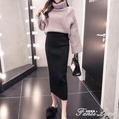 2020秋冬半身裙chic裙子女季新款高腰修身顯瘦針織包臀長裙黑色 范思蓮恩