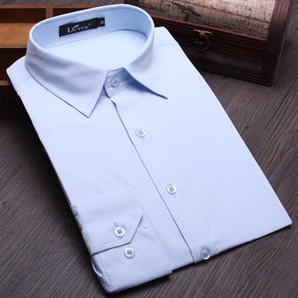 春夏季韓版白色男士長袖襯衫商務修身襯衣薄款青年職業西裝打底衫