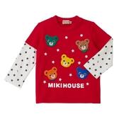 MIKI HOUSE 日本製 滿版普奇熊假二件長袖T恤 (紅)