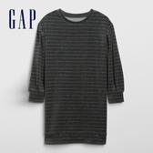 Gap女童 圓領長袖T恤洋裝 497515-深石楠灰