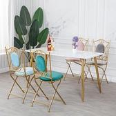 鐵藝折疊椅北歐家用圓凳布藝椅子網紅家用簡約餐椅餐廳ins風椅子 LX 韓國時尚週 免運
