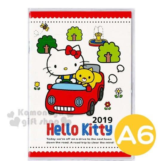 〔小禮堂〕Hello Kitty 2019日製年曆手帳本《A6.紅白》日誌.行事曆.記事本.銅板小物 4904555-05387