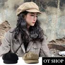 [現貨]帽子 簡約素面八角帽 報童帽 雙層內裡 可調整帽圍 英倫風 復古文青配件 黑/卡其 C2107 OT SHOP