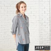 【JEEP】女裝 滿版狐狸圖騰長版長袖襯衫 (黑色)