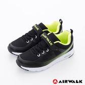 美國AIRWALK- 大角鯊 輕量氣墊方便黏扣兒童運動鞋-男-綠黑
