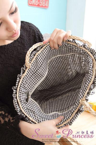 泳衣配件   蕾絲格子手工草編包 - 暢遊仲夏必備小物(黑) -沁甜美姬