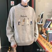 秋季新款情侶港風刺繡毛衣男士圓領套頭針織衫寬鬆休閒毛線衣秋裝 千惠衣屋