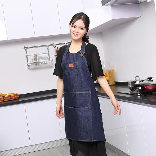 圍裙 加厚牛仔圍裙廚師工作服男女服務員時尚咖啡奶茶店工作圍裙 萬寶屋