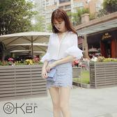 V領雪紡襯衫+蕾絲短裙兩件式套裝 O-Ker歐珂兒 LL88152-C (版型偏小)