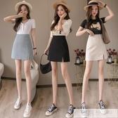 短裙 2020夏季新品韓版氣質個性小心機開叉高腰顯瘦A字包臀半身短裙女-完美