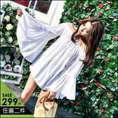 克妹Ke-Mei【AT47245】泰國潮牌  波西渡假風性感一字領喇叭袖露肩上衣
